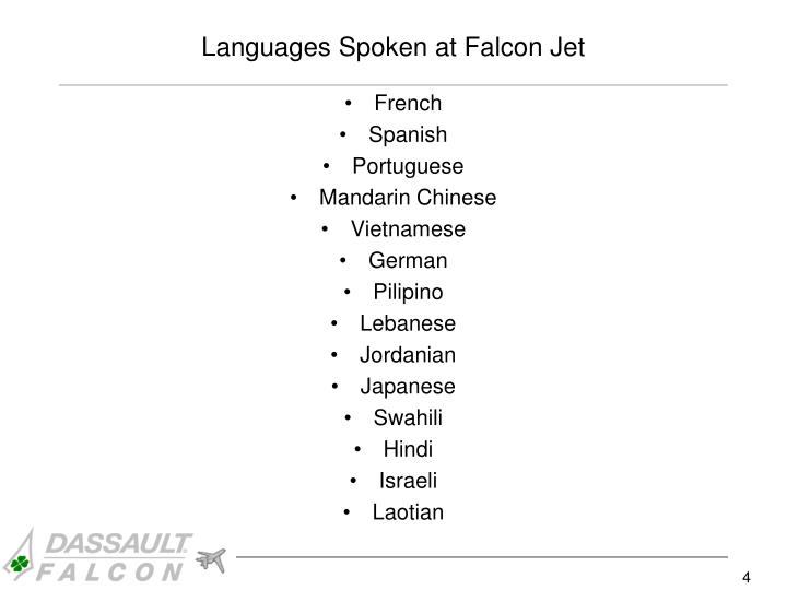 Languages spoken at falcon jet