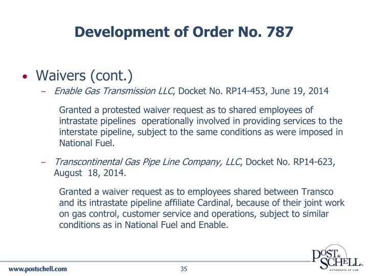 Development of Order No. 787