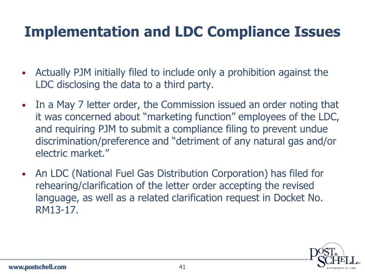 Implementation and LDC Compliance Issues