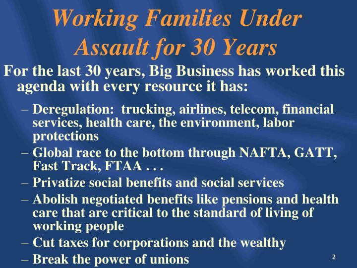 Working Families Under Assault for 30 Years