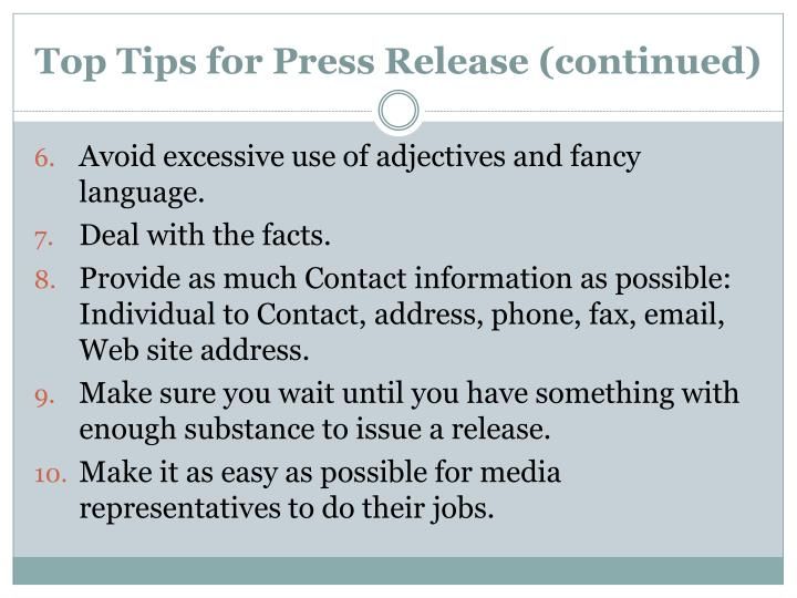 Top Tips for Press Release (continued)