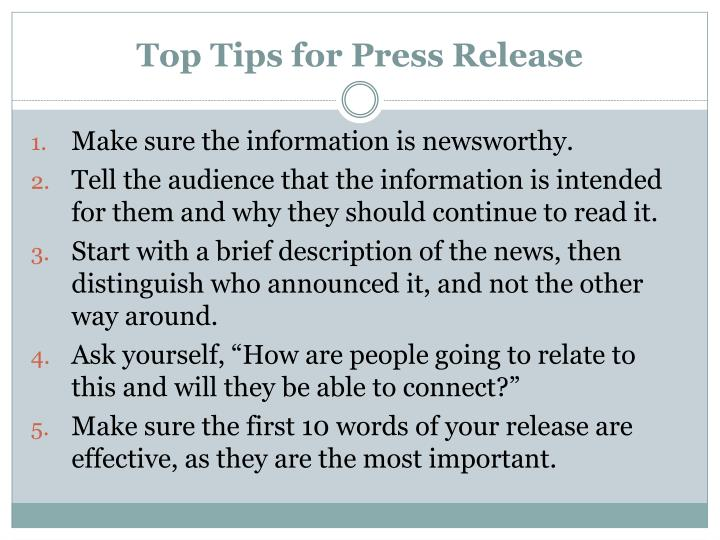 Top Tips for Press Release