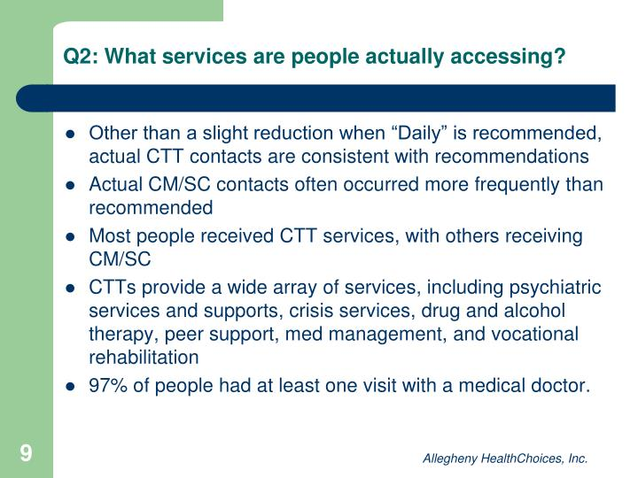 Q2: What services are people actually accessing?