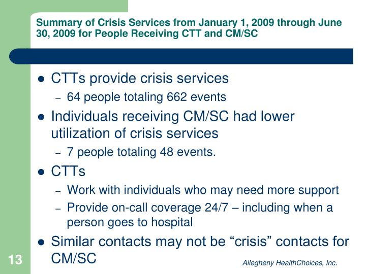Summary of Crisis Services from January 1, 2009 through June 30, 2009 for People Receiving CTT and CM/SC