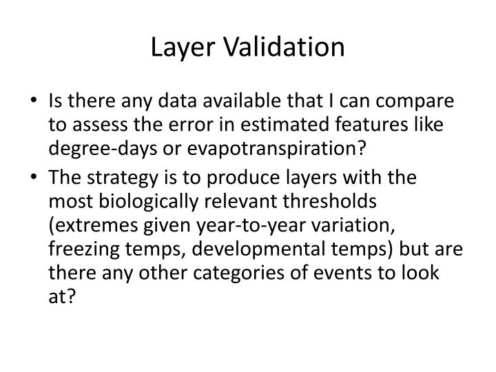 Layer Validation