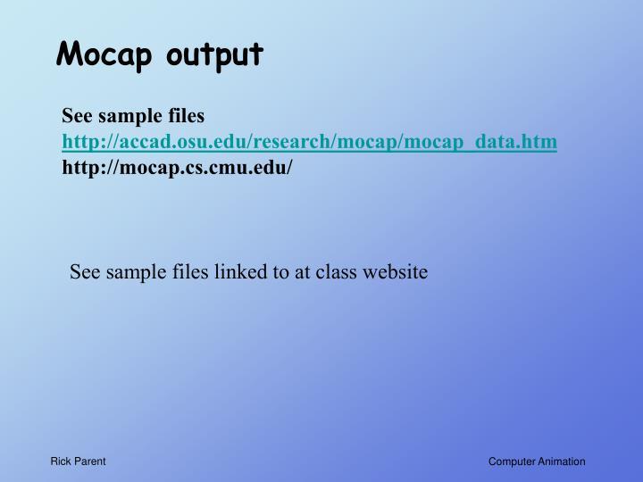 Mocap output