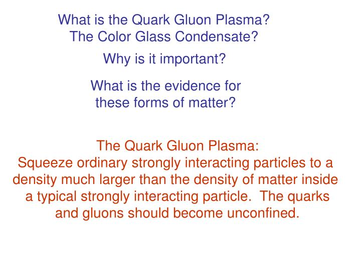 What is the Quark Gluon Plasma?