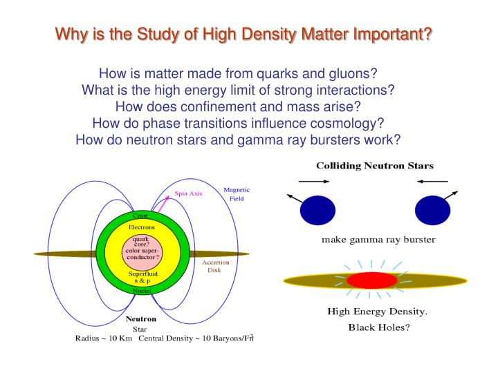 Why is the Study of High Density Matter Important?