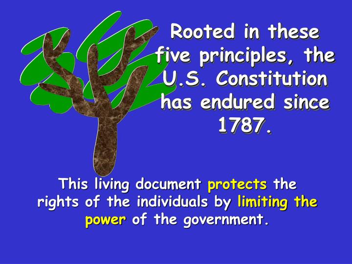 Rooted in these five principles, the U.S. Constitution has endured since 1787.