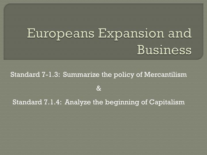 europeans expansion and business