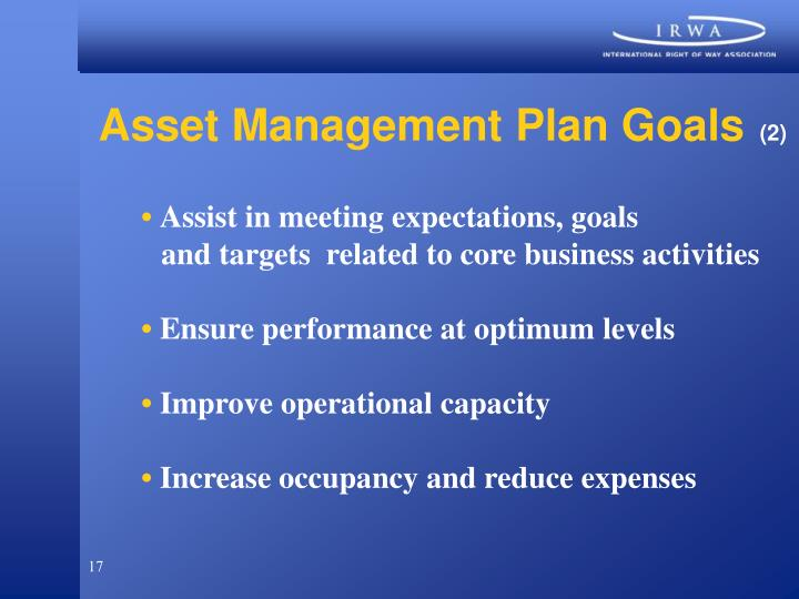 Asset Management Plan Goals