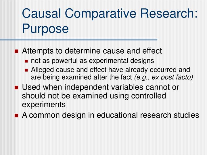 Causal comparative research purpose