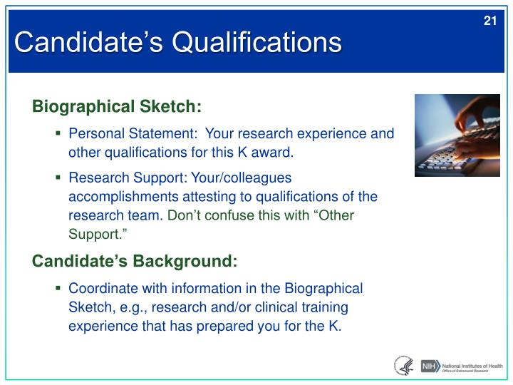 Candidate's Qualifications