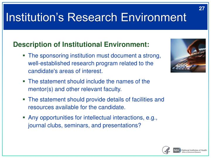 Institution's Research Environment