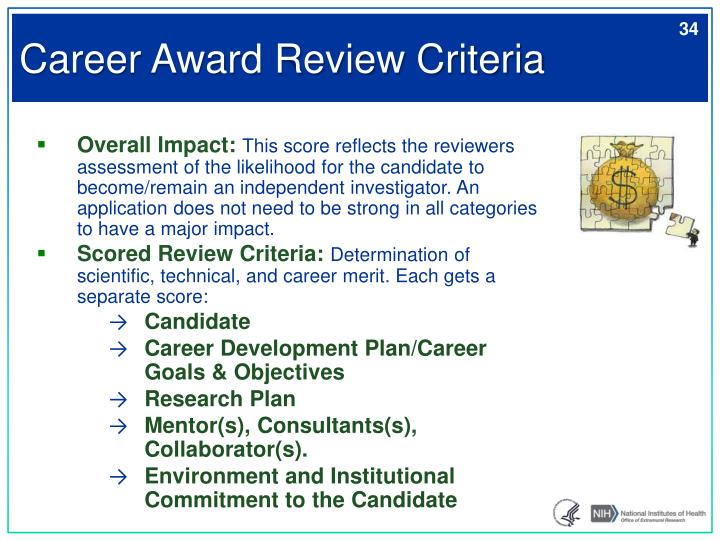 Career Award Review Criteria
