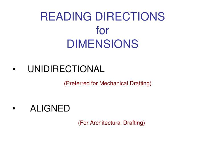 Reading directions for dimensions