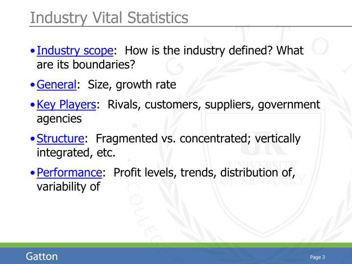Industry Vital Statistics