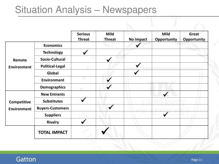 Situation Analysis – Newspapers