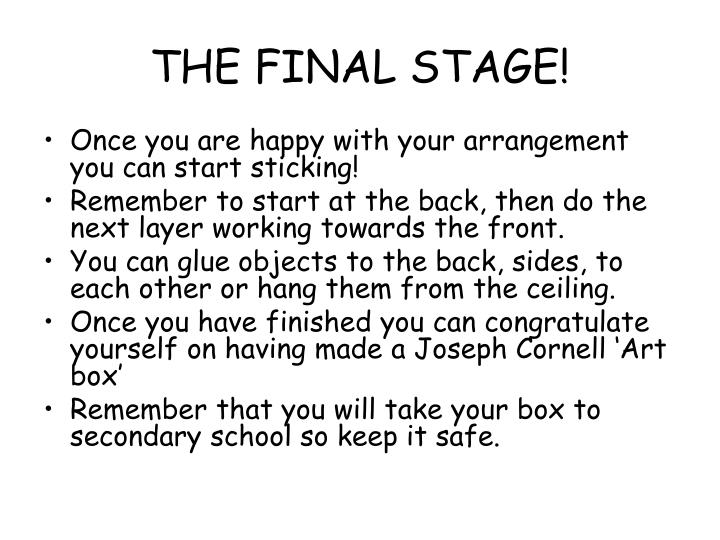 THE FINAL STAGE!