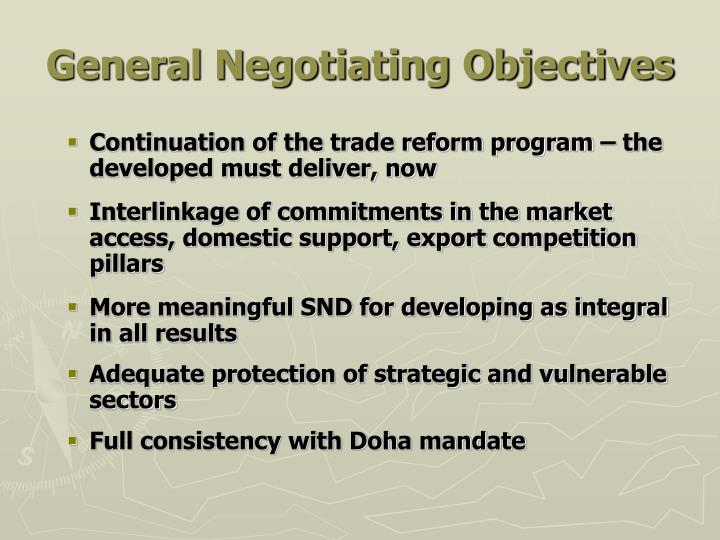General Negotiating Objectives