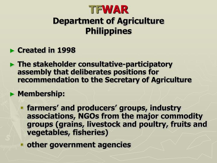 Tf war department of agriculture philippines1
