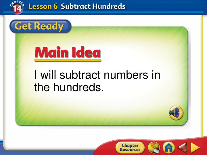 I will subtract numbers in the hundreds.
