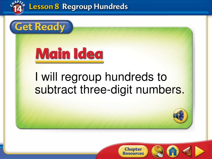 I will regroup hundreds to subtract three-digit numbers.