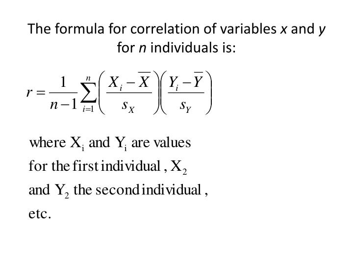The formula for correlation of variables