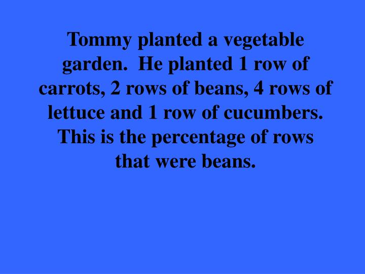 Tommy planted a vegetable garden.  He planted 1 row of carrots, 2 rows of beans, 4 rows of lettuce and 1 row of cucumbers.  This is the percentage of rows that were beans.