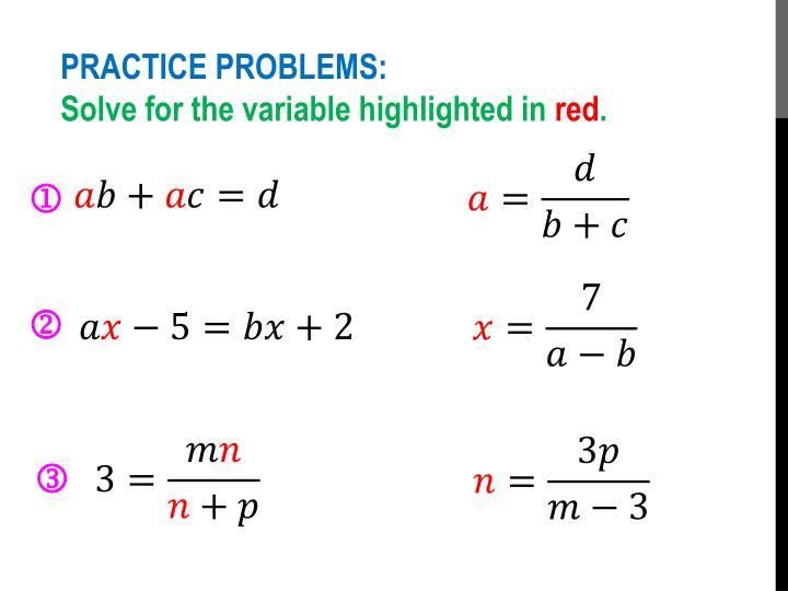 PRACTICE PROBLEMS: