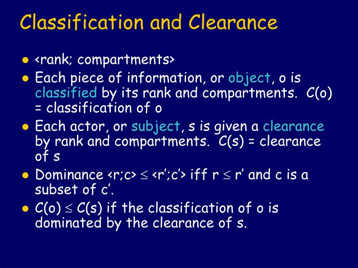 Classification and Clearance