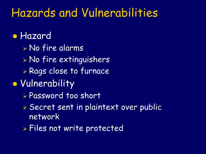 Hazards and Vulnerabilities