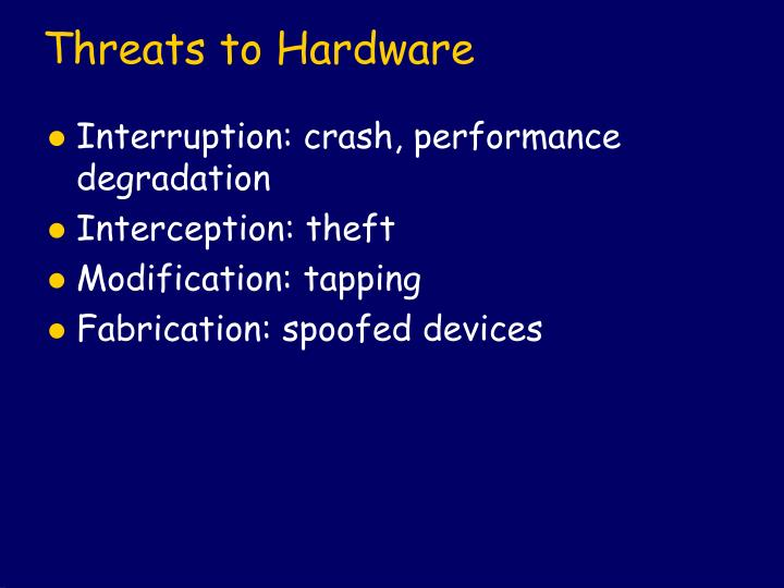 Threats to Hardware