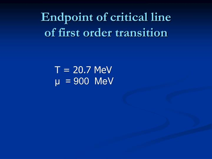 Endpoint of critical line