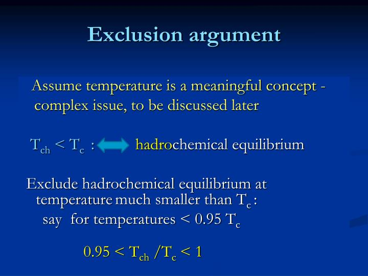 Exclusion argument