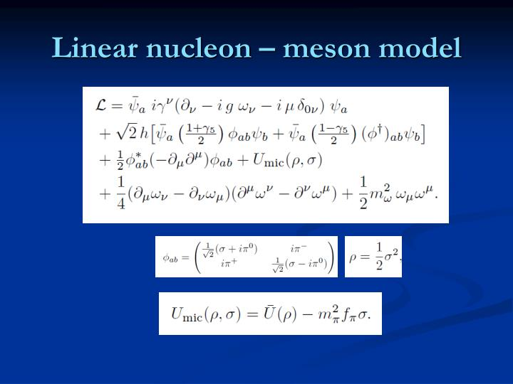 Linear nucleon – meson model