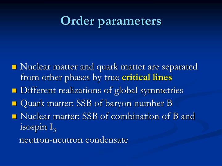 Order parameters