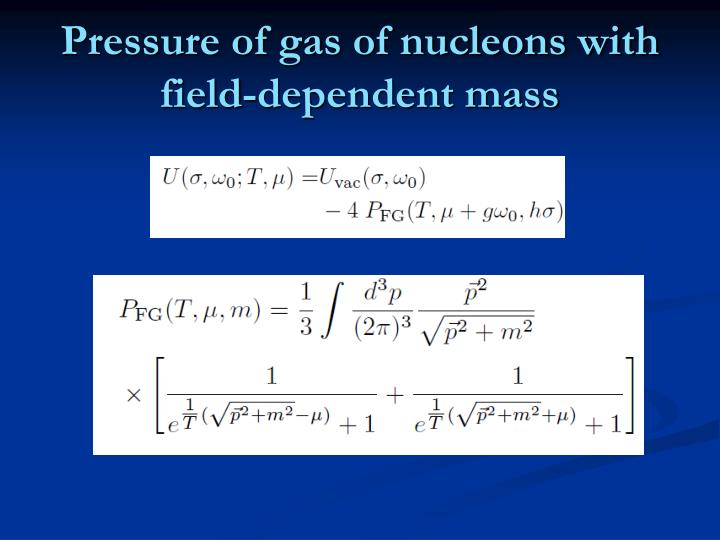 Pressure of gas of nucleons with