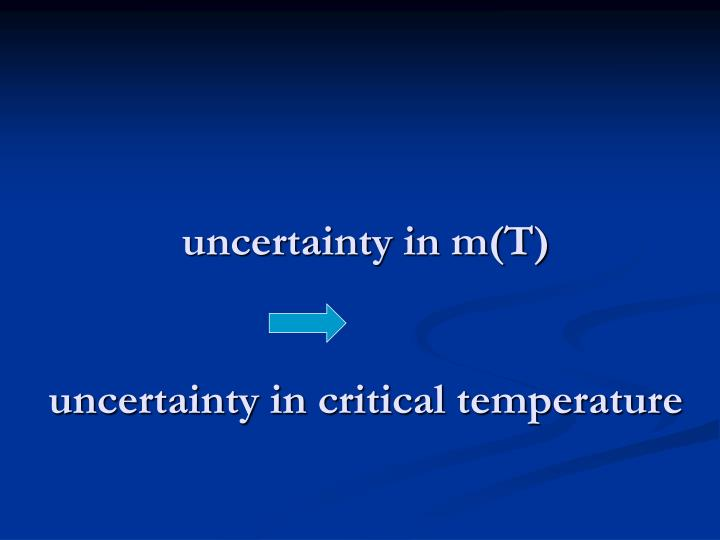 uncertainty in m(T)