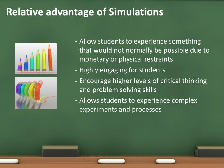 Relative advantage of Simulations