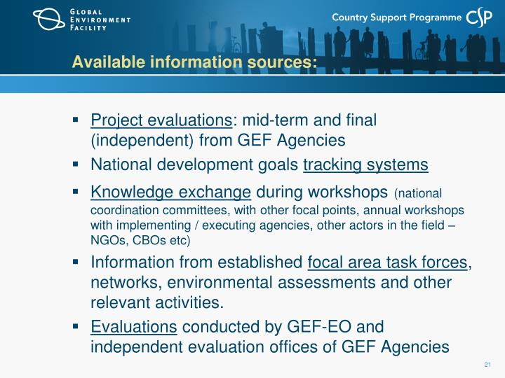 Available information sources: