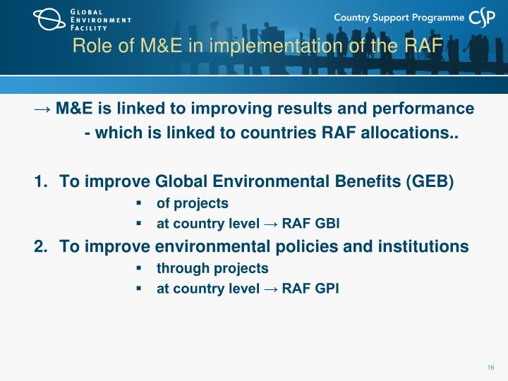 Role of M&E in implementation of the RAF