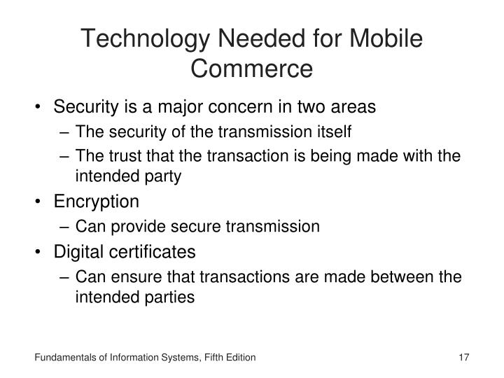 Technology Needed for Mobile Commerce