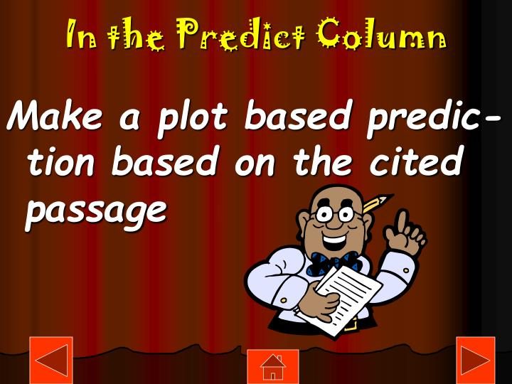 In the Predict Column