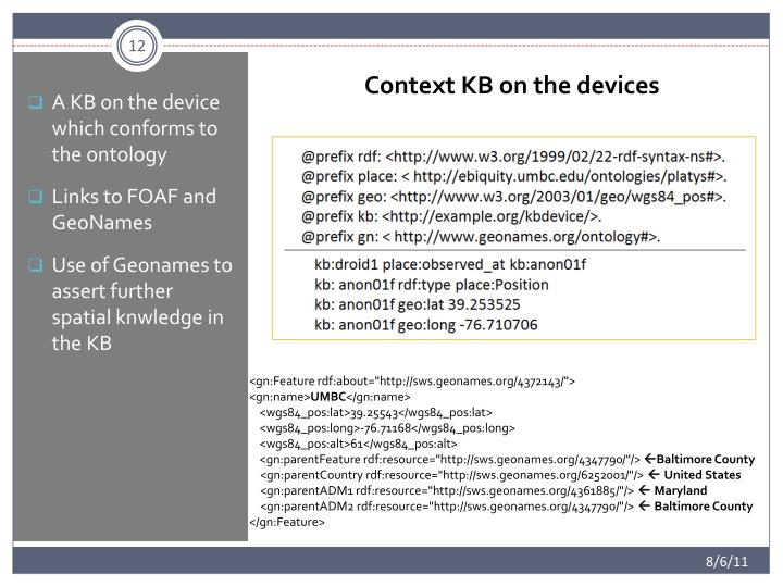 A KB on the device which conforms to the ontology