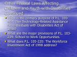 other federal laws affecting children and youth with disabilities continued