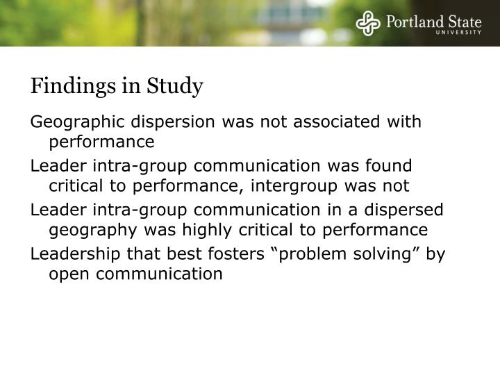 Findings in Study