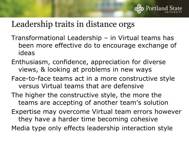 Leadership traits in distance orgs