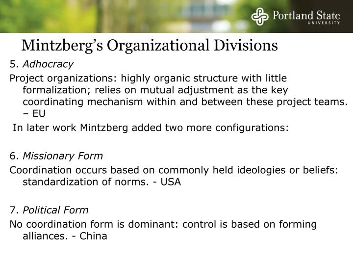 Mintzberg's Organizational Divisions