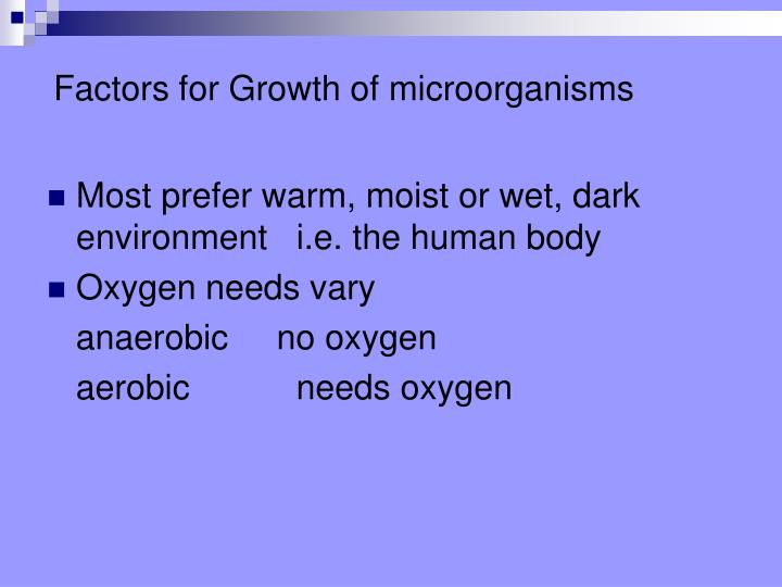 Factors for Growth of microorganisms